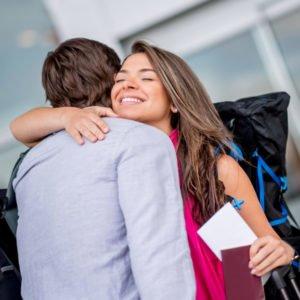 Backpacker goodbye in airport
