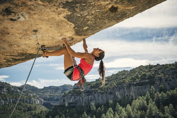 emale rock climber in Margalef Catalonia Spain