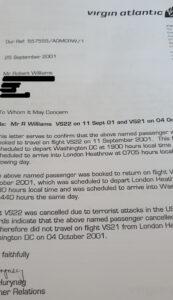 Virgin Atlantic letter from 9/11